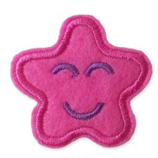 DARK PINK SMILING STAR MOTIF IRON ON EMBROIDERED PATCH APPLIQUE